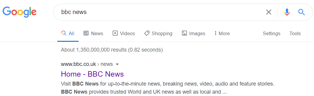 Google search result on BBC's news site showing meta description