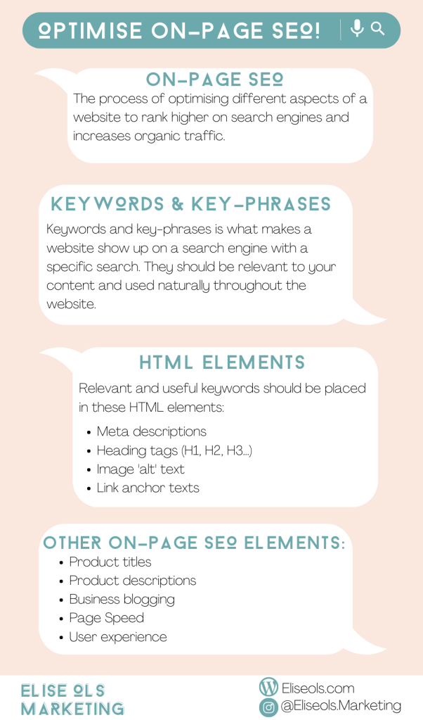 Infographic on how to optimise your on-page SEO