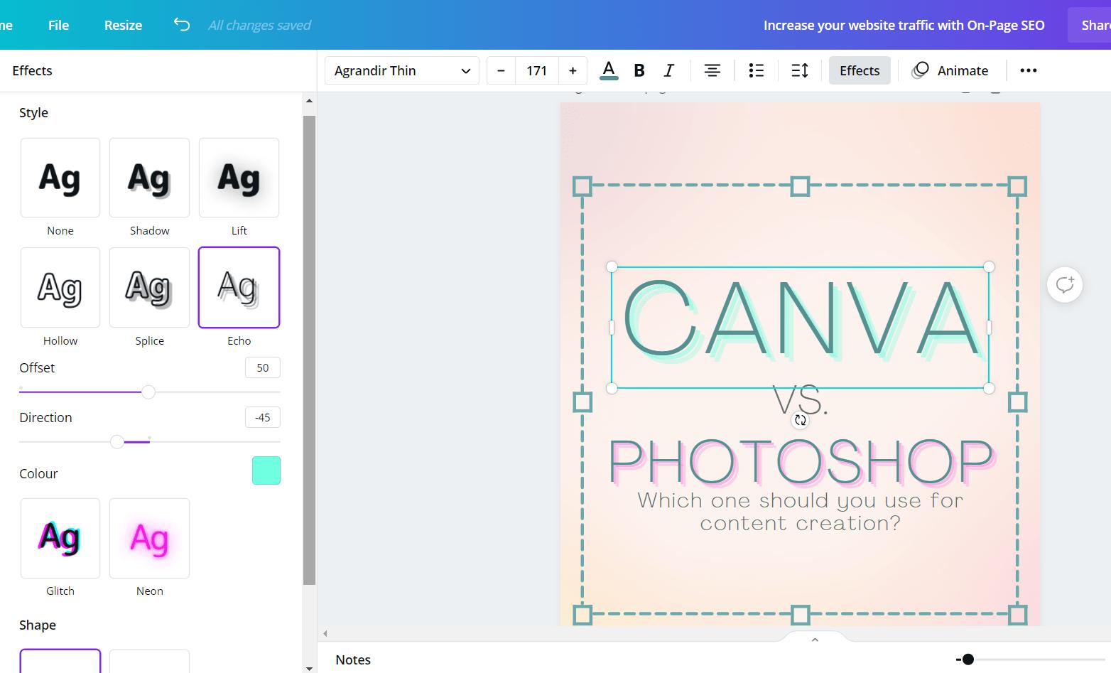 Screenshot of Canva text effects