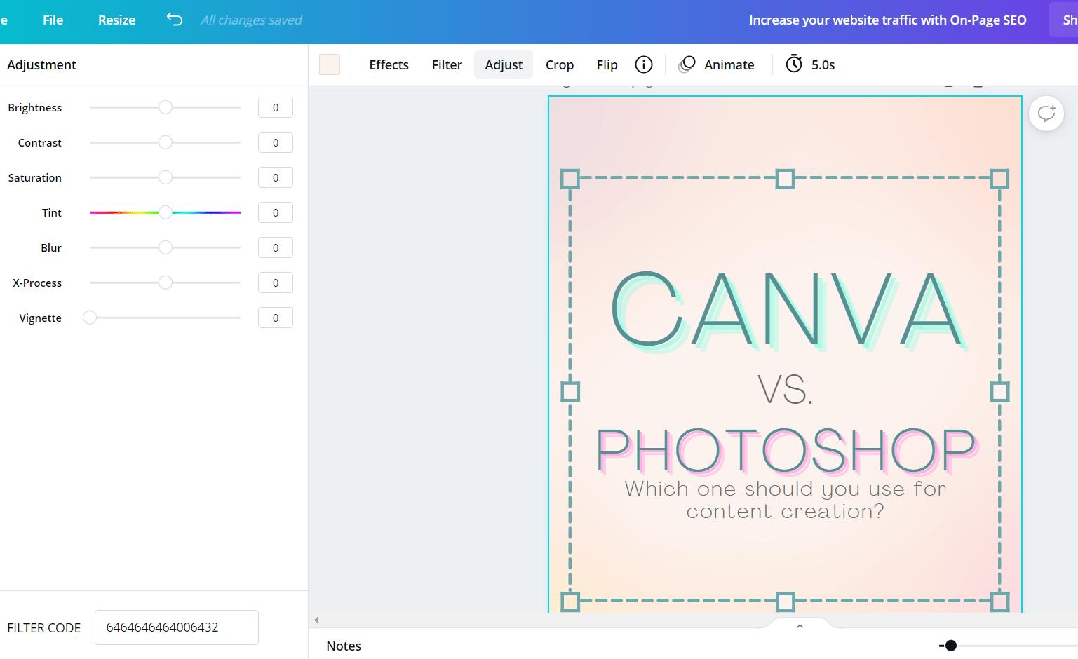 Screenshot of Canva Pro photo editing elements