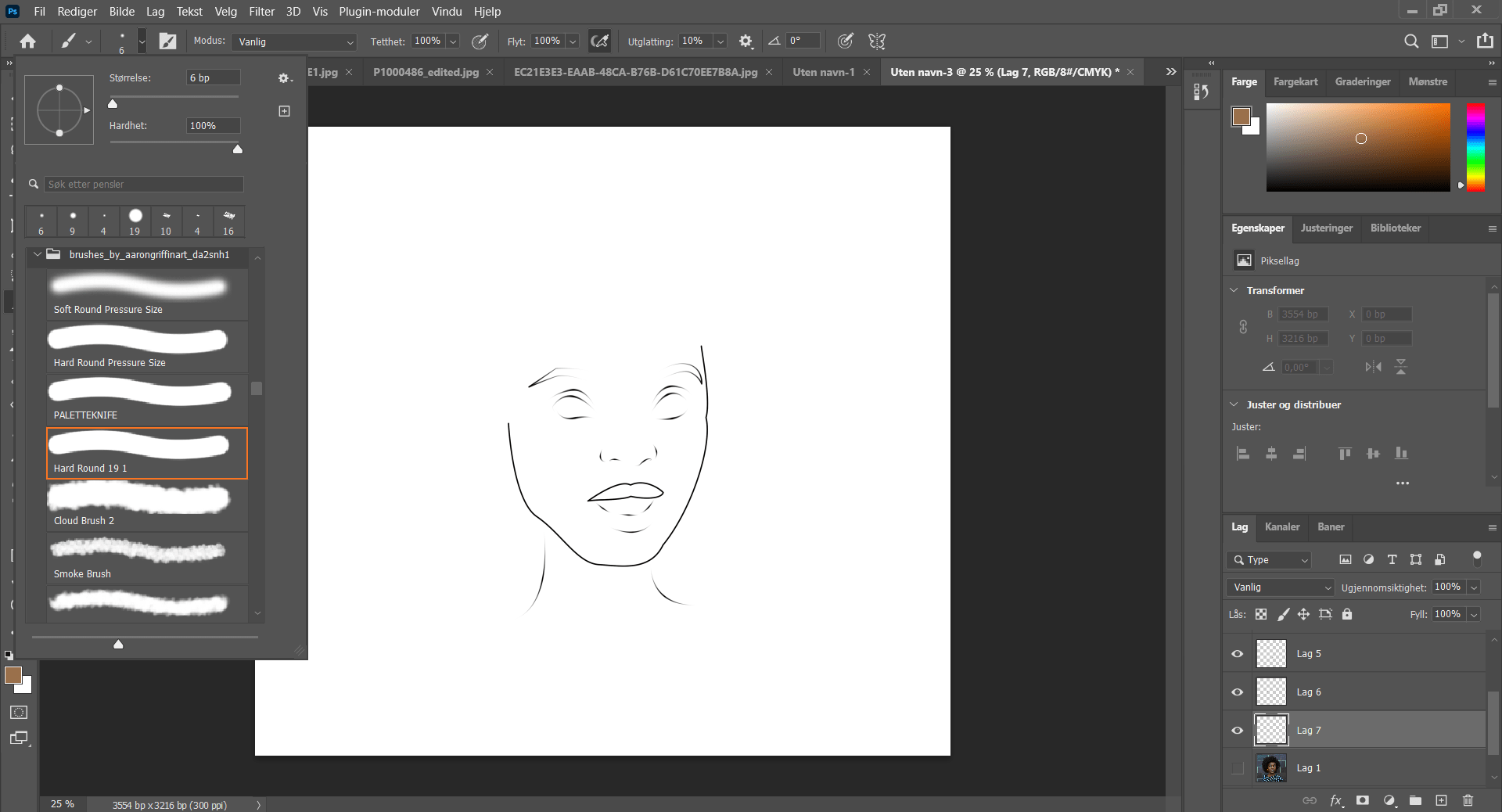 Photoshop CC 2021 software outline of cartoon painting of black woman's head