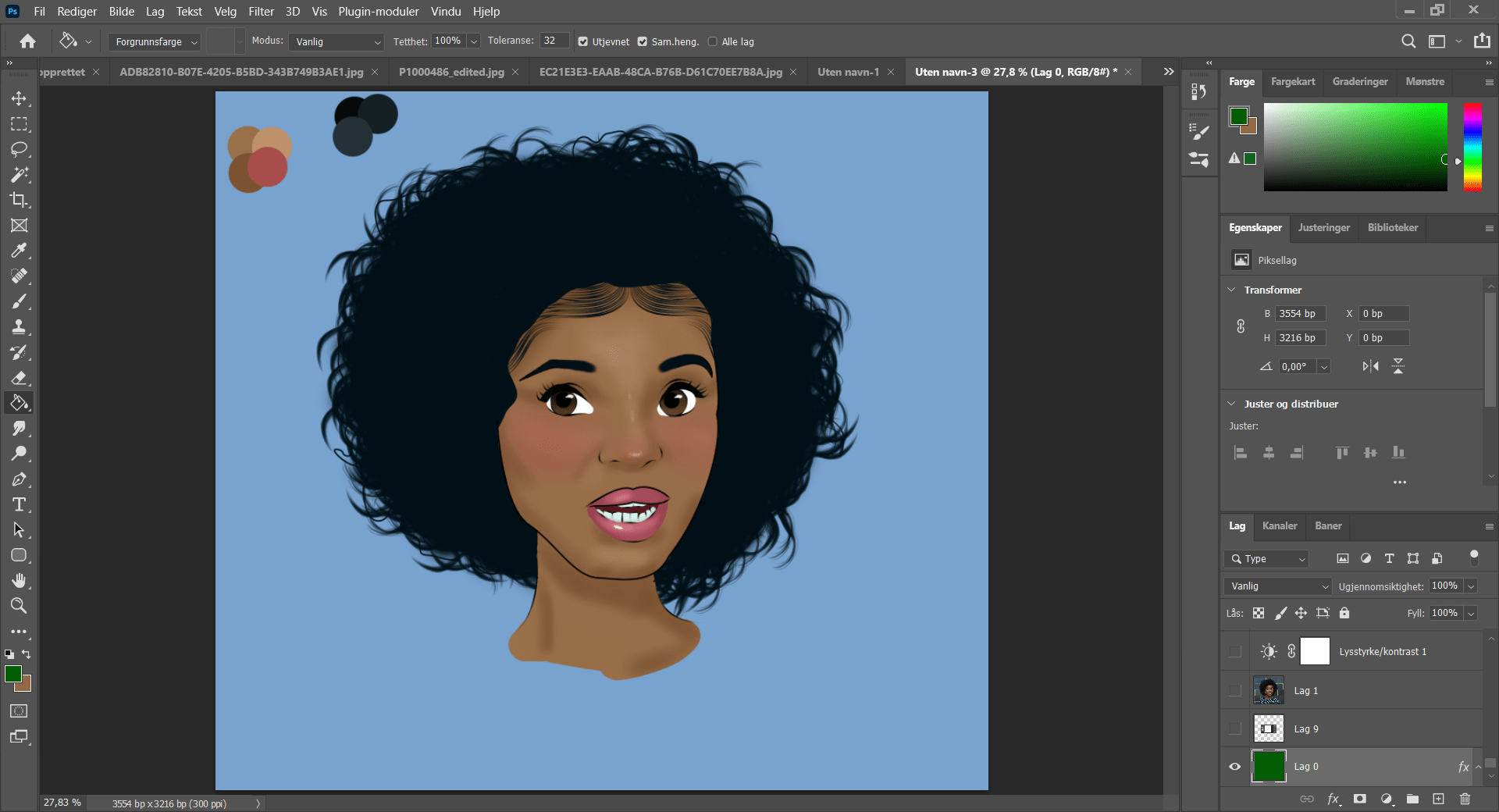 Photoshop CC 2021 software work in progress cartoon painting of black woman's head on a blue background