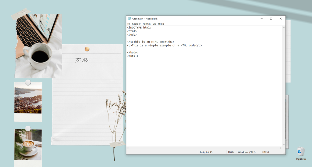 Windows notepad example of a simple HTML code structure
