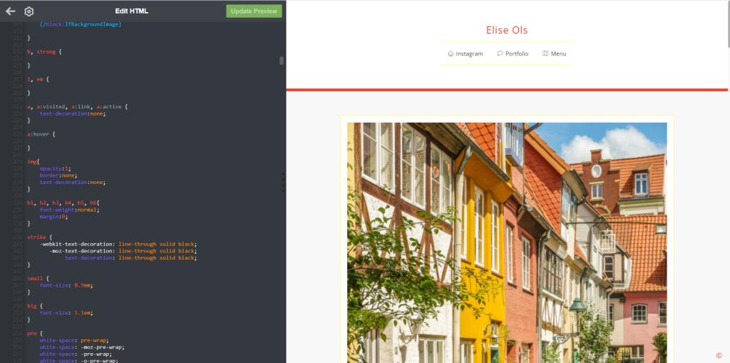 Screenshot of Tumblr HTML edit options