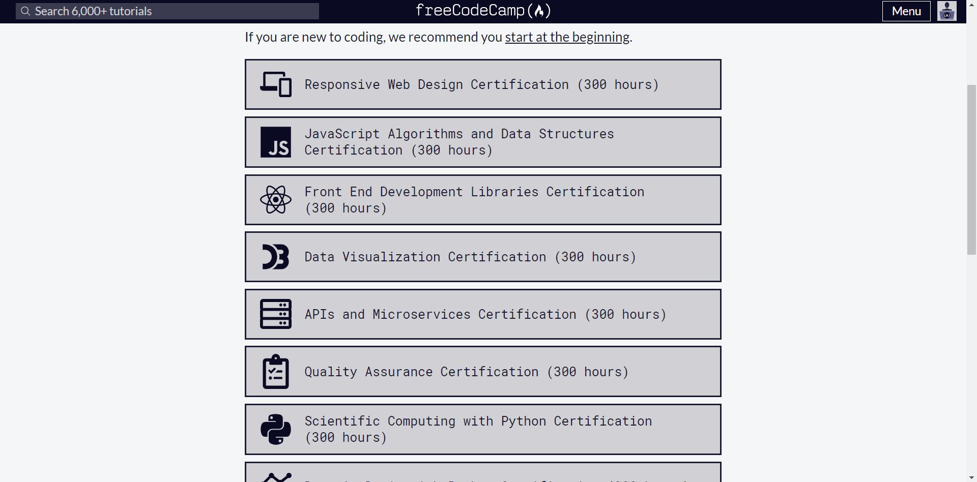 Screenshot of Free Code Camp programming language course selection