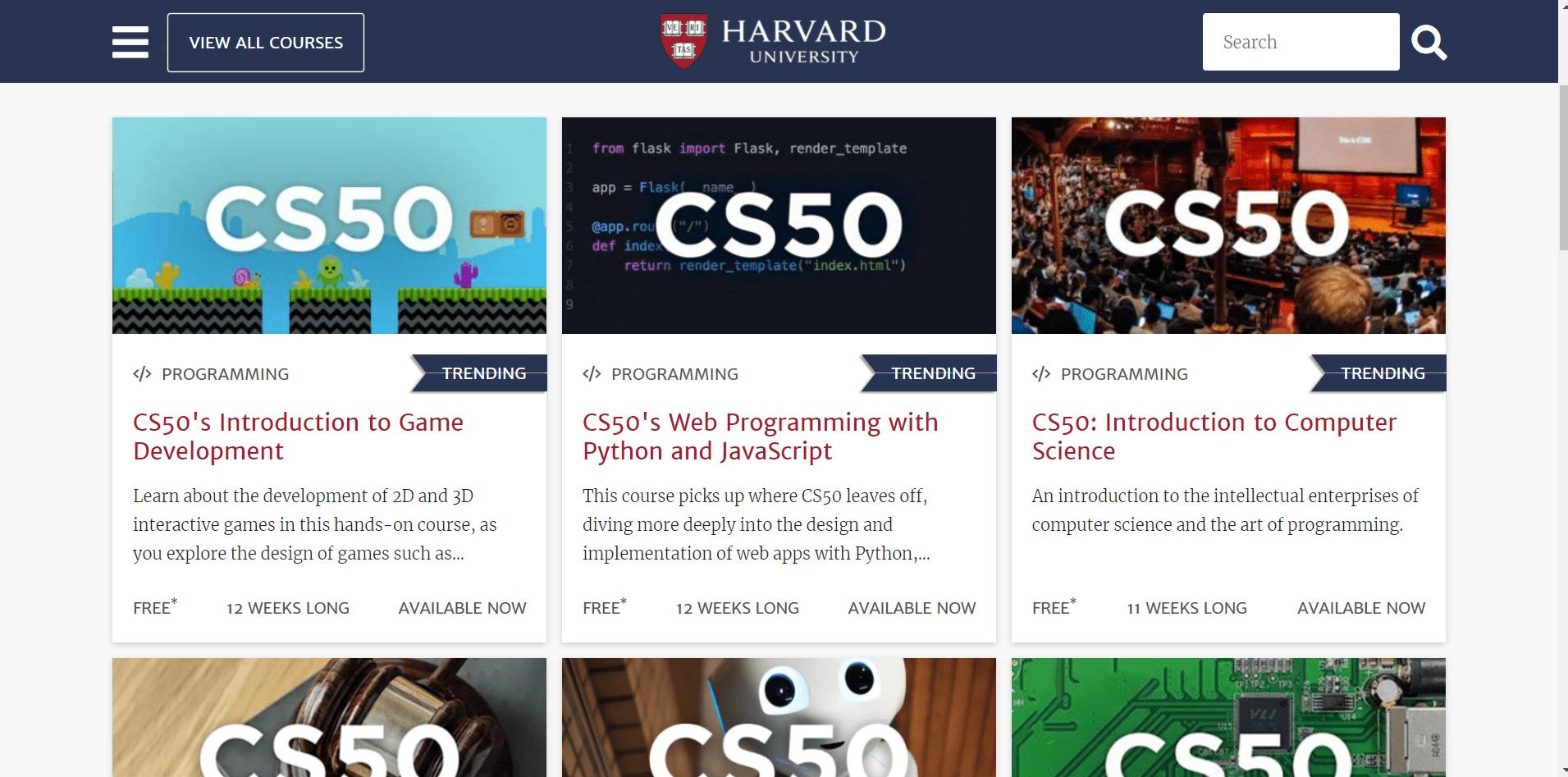 Screenshot of Harvard university's selection of free online programming courses