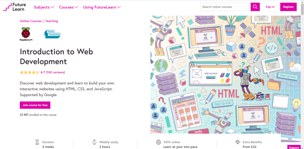 Screenshot of Future Learn's Introduction to Web Development Course